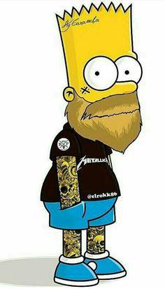 Bart w/beard and tats Simpsons Tattoo, Simpsons Drawings, Simpsons Art, Bart Simpson, Arte Dope, Dope Art, Sketch Manga, Beard Art, Graffiti Art