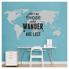 World Map Decal Not All Those Who Wander Are Lost Large World Map... ($122) ❤ liked on Polyvore featuring home, home decor, wall art, home & living, home décor, silver, wall decals & murals, wall décor, vinyl window decals and stick wall decals