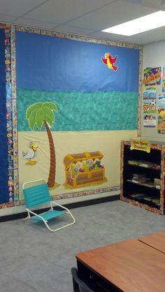 Treasure Island 5th grade classroom reading nook - like the idea of small beach chairs