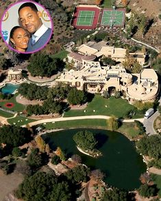 Will and Jada Pinkett-Smith  Money was no object for the actors when it came to shelling out 20 million to renovate the Calabasas, Calif., castle they call home. Choice amenities at the Smith home? A lake, basketball courts and two par three golf holes in the backyard.
