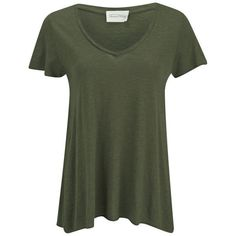 American Vintage Women's Jacksonville V-Neck T-Shirt - Herb ($43) ❤ liked on Polyvore featuring tops, t-shirts, shirts, tees, green, green tee, short sleeve tee, vneck t shirts, short-sleeve shirt and v neck tee