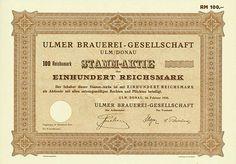 HWPH AG - Historische Wertpapiere - Ulmer Brauerei-Gesellschaft Ulm/Donau, Februar 1936, Blankett einer Stammaktie über 100 RM, o. Nr