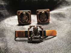 Awesome Copper Buddha Cuff Link and Tie Bar Set by DresdenCreations, $30.00