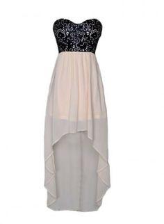 High Low Colorblock Dress,  Dress, Strapless Dress, Chic