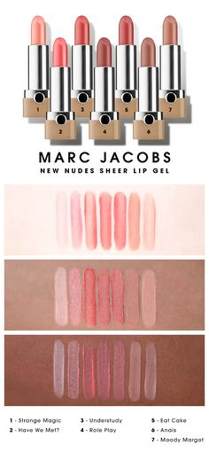 We swatched the shade range of Marc Jacobs Beauty New Nudes Sheer Lip Gels on various skin tones.
