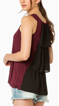 Seani Tank Top in Burgundy and Black