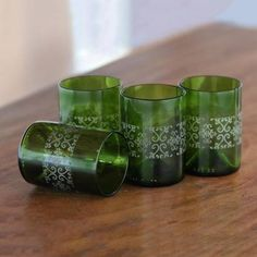 Buy Recycled glass juice glasses, 'Drink in Batik' (set of today. Shop unique, award-winning Artisan treasures by NOVICA, the Impact Marketplace. Each original piece goes through a certification process to guarantee best value and premium quality. Liquor Bottle Crafts, Wine Bottle Candles, Recycled Glass Bottles, Bottle Glasses Diy, Bottle Art, Cutting Glass Bottles, Wine Bottle Cutting, Wine Cork Art, Mosaic Mirrors