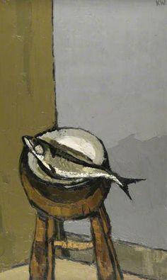 'Mackerel' (c.1988) by Welsh artist Kyffin Williams (1918-2006). Oil on canvas, 104 x 68.5 cm. via BBC