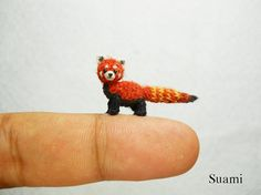 Miniature Red Panda Shining Cat - Micro Mini Amigurumi Crochet Art Tiny Doll Animal - Made To Order