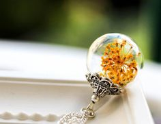 Echte Blüten Silber Kette, Glaskugel Kette  von Bling-Bling Boutique auf DaWanda.com