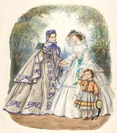 Illustration for a French fashion magazine 1862 Civil war era fashion - Visit to grab an amazing super hero shirt now on sale! Old Dresses, Vintage Dresses, Vintage Outfits, Historical Costume, Historical Clothing, Mode Vintage, Vintage Ladies, Victorian Fashion, Vintage Fashion
