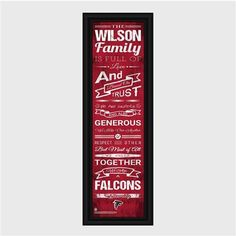 Personalized NFL Family Cheer Print & Frame - Falcons