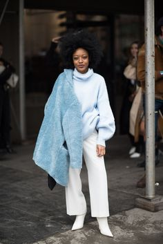 Live From New York, It's Fashion Week Street Style!+#refinery29 that sweater!