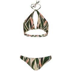 Adriana Degreas Araruta Print Halter Bikini- FINAL SALE ($300) ❤ liked on Polyvore featuring swimwear, bikinis, multi, beach wear, halter bikini swimwear, bikini swimwear, beach bikini and green swimwear