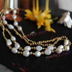 Freshwater Pearl Necklace White Potato shape pearls by PEAFAIR