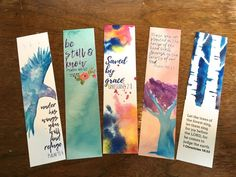 Watercolored Bible Verse Bookmarks - Set of 5 - Christian Gift - Scripture Bookmark Set - Christian Gifts - Creative Bookmarks, Bookmarks For Books, Diy Bookmarks, Watercolor Books, Watercolor Bookmarks, Watercolor Cards, Bible Bookmark, Bookmark Craft, Homemade Bookmarks