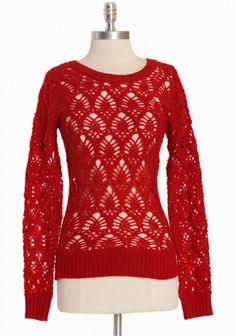 Bright red for the holidays! Cafe Verona knit sweater from Ruche, $42. Another great layering piece.
