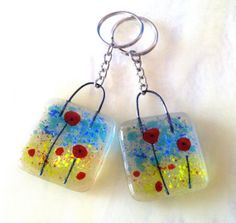 Poppies fused glass key ring chain keychain poppy flower red blue green garden gardener mom mum