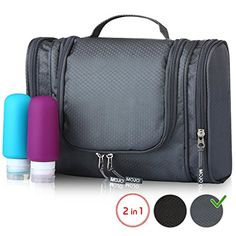 Hanging Toiletry Bag - Shower Bag for Men and Women - Toiletry Kit with  Travel Bottles Set - Cosmetic Travel Bag with Mesh Pockets Sturdy Hook -  Best ... 1e7a60645fd15