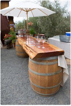 Like the umbrella too! Wine Barrel Serving Bar