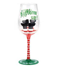 Look at this #zulilyfind! 'Bottoms Up!' Hand-Painted Wineglass #zulilyfinds #wineglass #wine