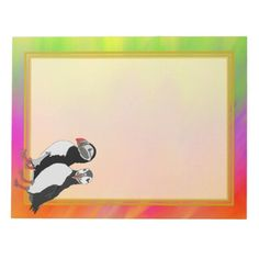 Unlined Puffin Pair Colorful 8.5x11 Note Pad