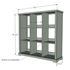 DIY Furniture Plan from Ana- How to build a cubby bookshelf with adjustable shelf. Free plans for beginners with full video project tutorial. Diy Wood Projects, Furniture Projects, Home Projects, Woodworking Projects, Fine Woodworking, Garden Furniture, Building Furniture, Woodworking Magazine, Outdoor Furniture