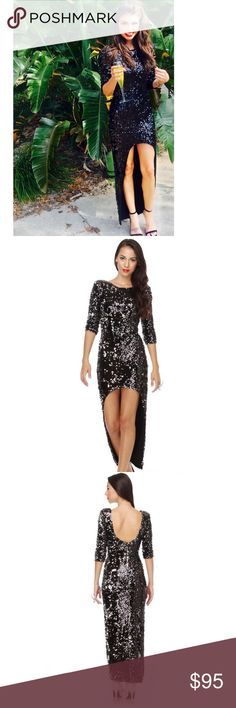 Blaque Label Sequin Dress by Lulu's Worn once for the Boys & Girls Club Gala. Open to offers. Stunning! Sold out online.  Give that disco ball a run for its money in the sparkling Blaque Label Energizer Hunny Black Sequin Dress! Glittering black and silver sequins add non-stop fun from padded shoulders, past three-quarter sleeves, and down front of dress. Low v-back is the perfect complement to a stunning high-low hem for a look that keeps going all night long! Hidden back zipper/hook clasp…