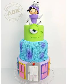 So fun! I would love to do this cake! Monster 1st Birthdays, Monster Inc Party, Monster Birthday Parties, Birthday Ideas, Beautiful Cakes, Amazing Cakes, Fondant Cakes, Cupcake Cakes, Monster Inc Cakes