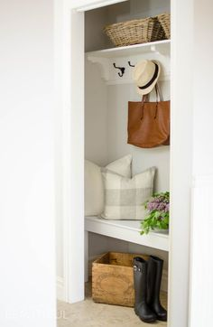 Closet Makeover A cramped coat closet turns into a beautiful farmhouse inspired entry for a busy family with this simple makeover Front Hall Closet, Hallway Closet, Closet To Mudroom, Closet Bench, Closet Redo, Closet Remodel, Closet Ideas, Closet Makeovers, Home Renovation