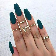 A manicure is a cosmetic elegance therapy for the finger nails and hands. A manicure could deal with just the hands, just the nails, or Acrylic Nail Art, Acrylic Nail Designs, Nail Art Designs, Acrylic Nails Coffin Matte, Matte Green Nails, Acrylic Nails Green, Autumn Nails Acrylic, Matte Nail Polish, Pink Coffin