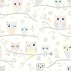 Tapet Play m Pastell Släkträd Non-woven Owl Wallpaper, Interior Wallpaper, Cute Wallpaper Backgrounds, Cute Wallpapers, Baby Barn, Mini Crib, Fabric Patterns, Playroom, Hello Kitty