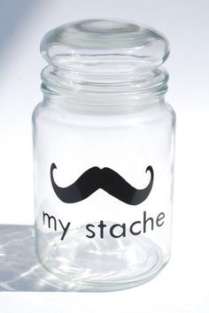 haha going to make one of these! My Stache jar the Gentleman Mustache Glass Jara by lovegracejoy