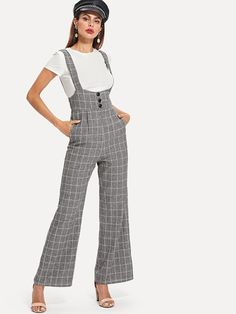 63845ac8700f Buttoned Waist Grid Jumpsuit. JumpsuitsGridRompersOverallsBlanket ...