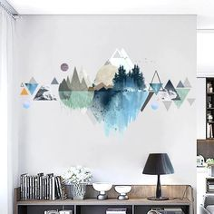 Landscape Wall Decals Crafts Decals Landscape thrifted home decor diy Wall Room Wall Painting, Mural Painting, Wall Art, Painted Wall Murals, Wall Paintings, Painted Wallpaper, Mural Wall, Wall Wallpaper, Diy Wand