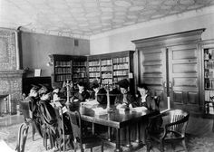 History of Barnard College Library | Library. Ella Weed Reading Room, Millbank Hall, c1905