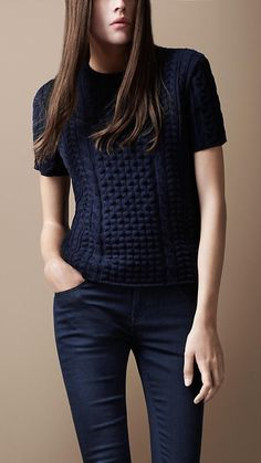 "Burberry: Short Sleeve Cable Sweater ""this knit is known as an Aran sweater"" My Notes:  Nice take, Aran meets Tshirt!"