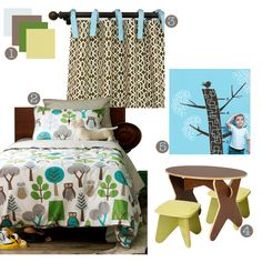 Woodland Toddler Boy Room. Love the fabric for girl or boys rm. But white seems scary. Lol