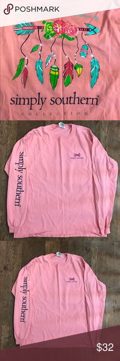 Simply Southern T-Shirt Pink Simply Southern Collection Long Sleeve T-Shirt with Arrow, feathers, and flowers. Simply Southern Tops Tees - Long Sleeve