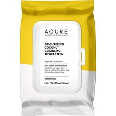 ACURE's Brightening Coconut Towelettes gently remove makeup, dirt, sweat, environmental toxins, and that mustard from the corner of your mouth. Wash Your Face, Face And Body, Acure Organics, Coconut Water Benefits, Mineral Oil, Argan Oil, Makeup Remover, Cleanse