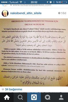 Okuduğunu unutmama Duası