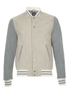 Grey Blue Suede Tipped Bomber Jacket