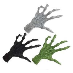 "RAZ Glittered Hand  3 Asst Black/Silver/Green Set includes one of each color Made of Plastic Measures 9.5"" X 7.5  Extra photo shows a display of the hands, other items are not included."