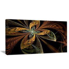 "DesignArt 'Colorful Fractal Flower Pattern' Graphic Art Print on Wrapped Canvas Size: 16"" H x 32"" W x 1"" D"
