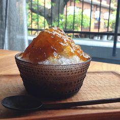 今日の家氷は、はちみつグレープフルーツほうじ茶のかき氷。絡みやすいようにジュレにした! #shavedice - @Noriko Okamoto- #webstagram