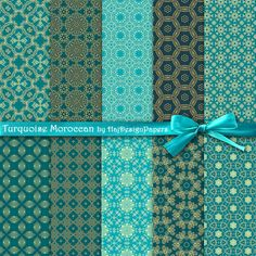 """Moroccan digital paper : """"Turquoise Moroccan"""" gold and turquoise digital paper with oriental, arabic, moroccan patterns, morocco patterns"""