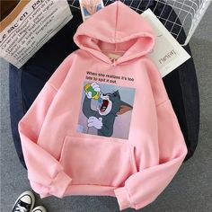 Harajuku Hoodies for Girls Cat Mouse White&pink Hooded Tops Women's Sw – GaGodeal Stylish Hoodies, Comfy Hoodies, Sweatshirts, Hoodie Outfit, Sweater Hoodie, Cute Comfy Outfits, Tomboy Outfits, Emo Outfits, Grunge Outfits