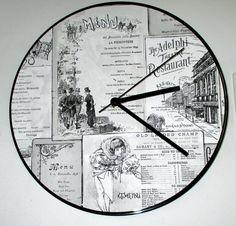 Old world menu look quartz Wall Clock 12 upcycled by MySalesRock
