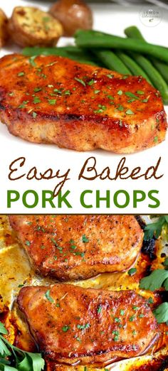 These oven baked pork chops are seasoned with simple spices and then baked to perfection learn all the secrets to succulent tender juicy and flavorful pork chops every time! baked intheoven easy recipe tender brownsugar sweet and sour pork Oven Pork Chops, Easy Baked Pork Chops, Smoked Pork Chops, Baked Pork Steaks Oven, Pork Chop Marinade Baked, Teriyaki Pork Chops, Italian Pork Chops, Rosemary Pork Chops, Healthy Recipes