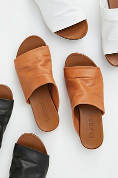 Shore Thing Slide Sandal - Leather Slide On Sandals - White Leather Sandals - White Slide On Sandals - Tan Slide On Sandals - Tan Leather Sandals - Casual Sandals - Free People Sandals Pretty Shoes, Cute Shoes, Me Too Shoes, Fringe Sandals, Leather Sandals, Sandals Outfit, Slide Sandals, Flat Sandals, Gladiator Sandals